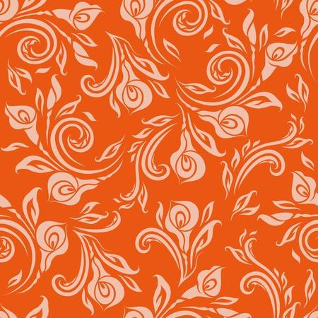 brocade: Seamless floral pattern  Beige flowers on orange background