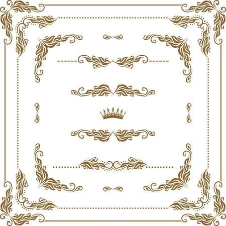 装飾的な水平方向の要素、罫線、フレーム ページ装飾のベクトルを設定 写真素材 - 13292398
