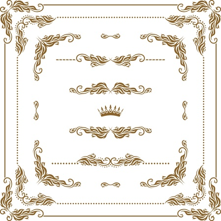Vector set of decorative horizontal elements, border and frame   Page decoration  Illustration