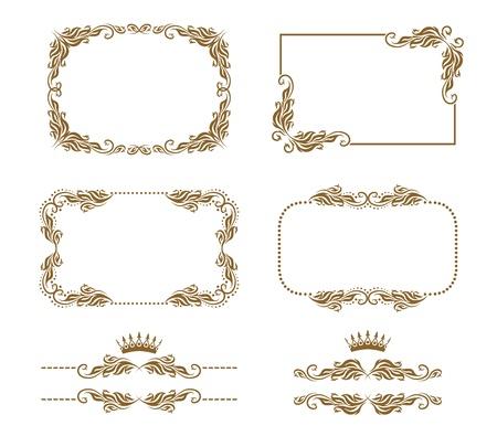 Vector set of decorative horizontal elements, border, frame  Page decoration