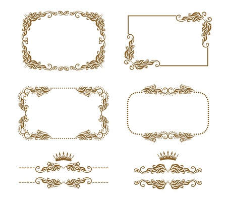 Vector set of decorative horizontal elements, border, frame  Page decoration  Vector