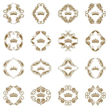 Victoriaanse kroon en decoratieve elementen Stock Illustratie