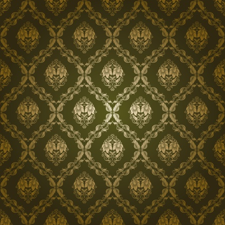 ornamental scroll: damask seamless floral pattern Illustration