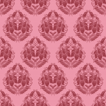 Damask seamless floral pattern  Flowers on a rose background  Vector