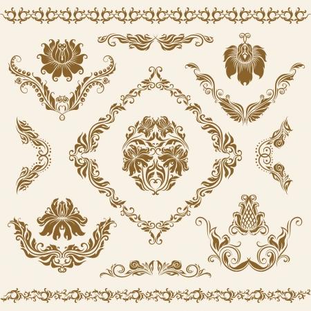 ornate swirls: Set of damask ornaments