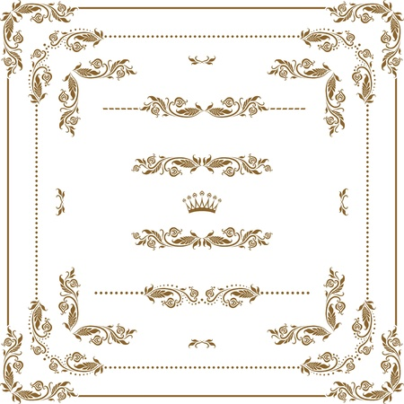 Vector set of decorative horizontal elements, border and frame   Page decoration Stock Vector - 14021139