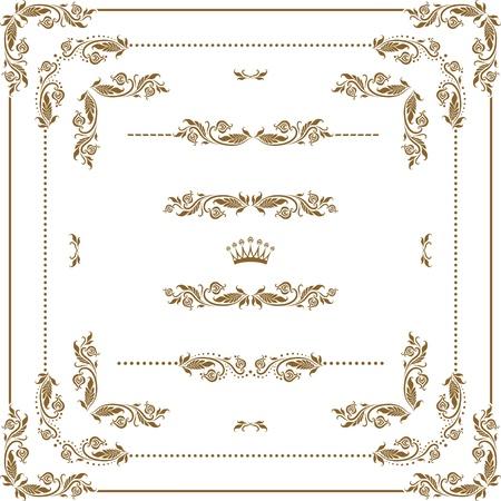white victorian old retro vintage: Vector set of decorative horizontal elements, border and frame   Page decoration  Illustration