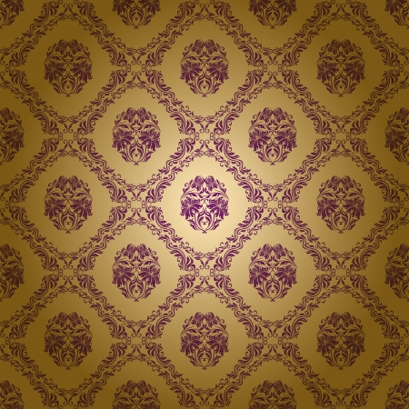 purple and gold: damask seamless floral pattern Illustration