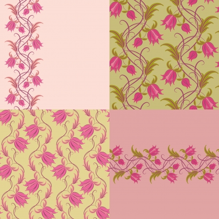 Set of 4 vector floral seamless pattern  Romantic wallpaper  Vector