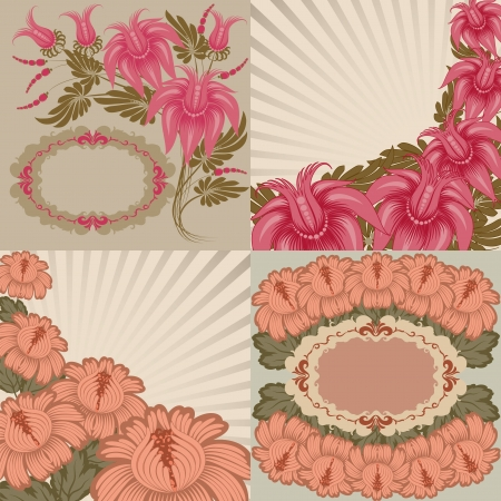 Set of romantic greeting card and floral background  Frame design, in vintage style  Vector