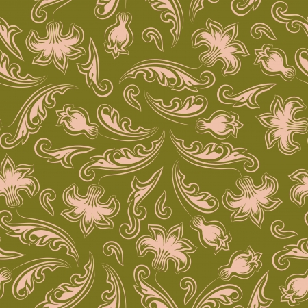 Seamless floral pattern  Beige flowers on a green background  Vector