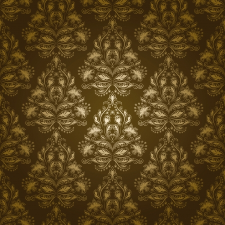 Damask seamless floral pattern  Flowers on olive background  EPS 10 Vector