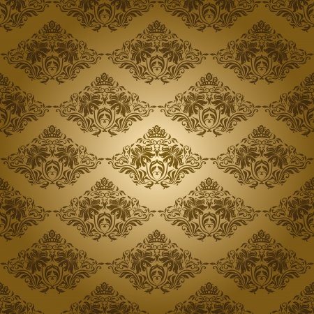 Damask seamless floral pattern  Flowers on a gold background  Vector