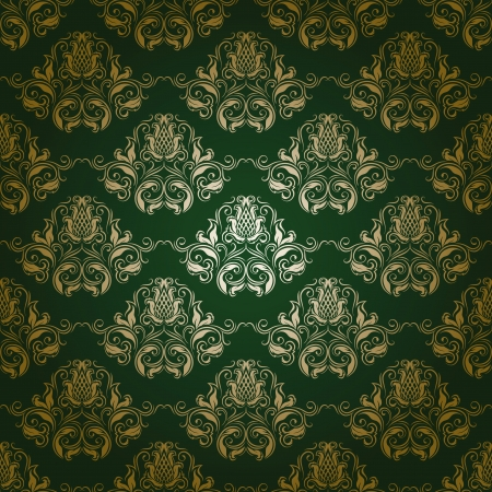 Damask seamless floral pattern  Flowers on a green background  Vector