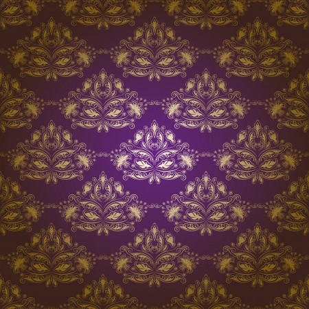 Damask seamless floral pattern  Gold flowers on a purple background Vector