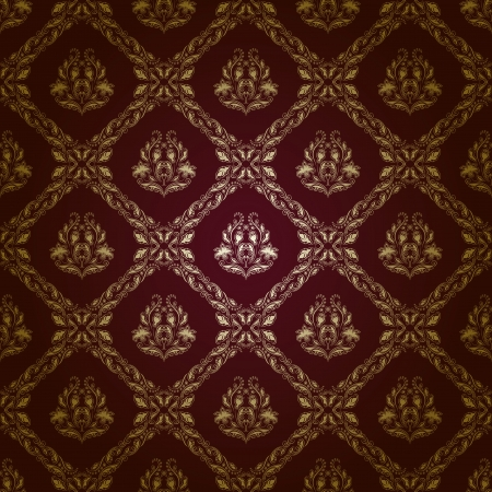 Damask seamless floral pattern  Gold flowers on a brown background   Vector