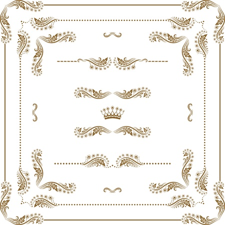 Vector set of decorative horizontal elements, border and frame   Page decoration  Stock Vector - 14458413
