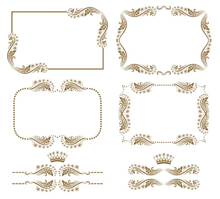 set of decorative horizontal elements, border and frame  Basic elements are grouped  Stock Vector - 14458412