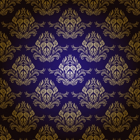 Damask seamless vector pattern  Floral ornament on a blue background  EPS 10 Vector