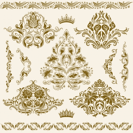 Set of  damask ornaments  Floral elements for design  Vector