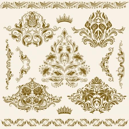 Set van damast ornamenten Bloemen elementen voor ontwerp Stock Illustratie