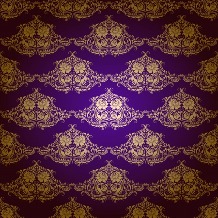 Damask seamless floral pattern  Gold flowers on a purple background  EPS 10 Stock Vector - 14599712