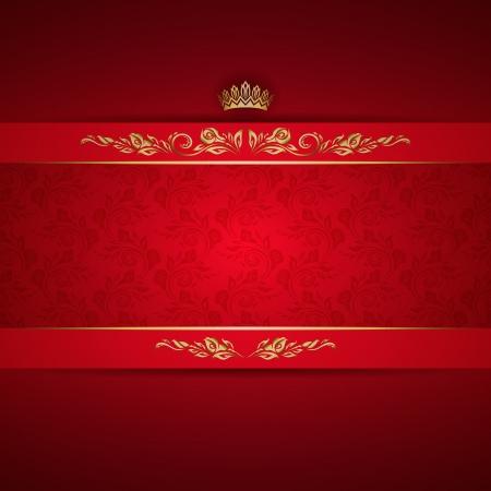 Elegant golden frame banner with crown on the ornate red background 일러스트