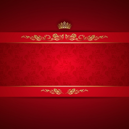 Elegant golden frame banner with crown on the ornate red background Illustration
