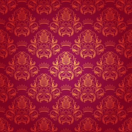 ダマスク織のシームレスな花柄ロイヤルの壁紙の花、赤い背景の上の王冠 写真素材 - 15211501