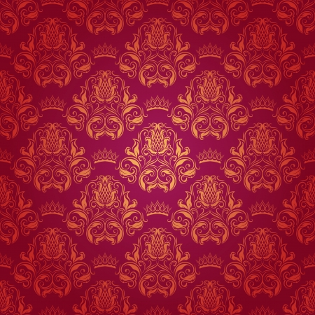 Damask seamless floral pattern  Royal wallpaper  Flowers, crowns on a red background  Vector