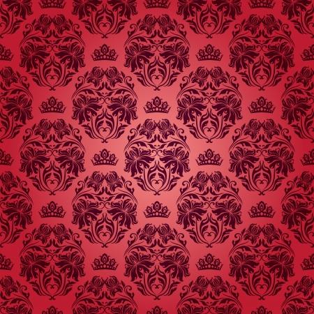 flowery: Damask seamless floral pattern Royal Flores pintado, coronas sobre un fondo rojo