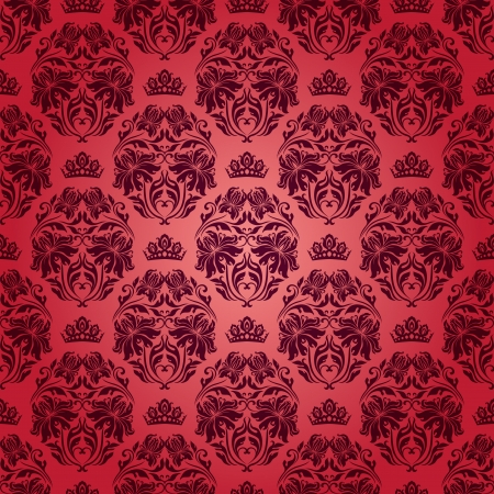 rich wallpaper: Damask seamless floral pattern  Royal wallpaper  Flowers, crowns on a red background