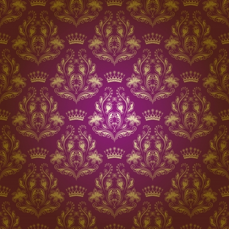 Damask seamless floral pattern  Royal wallpaper  Flowers, crowns on a purple background  Stock Vector - 15211706