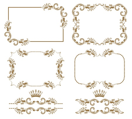 set of decorative horizontal elements, border and frame   Page decoration  Vector