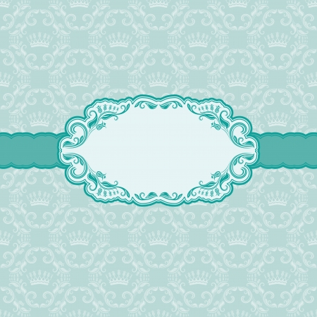 blue damask: Template frame design for greeting card   Background - seamless pattern