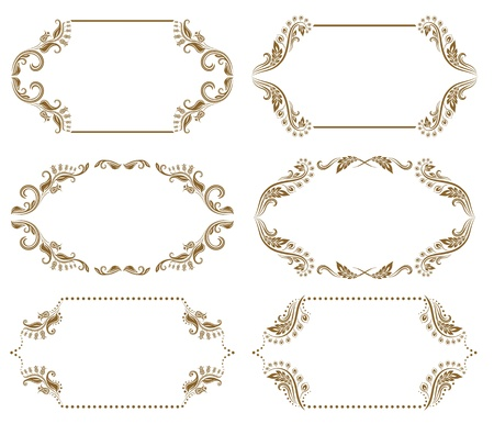 victorian fashion: Set of ornate floral vector frames for invitations or announcements  In vintage style