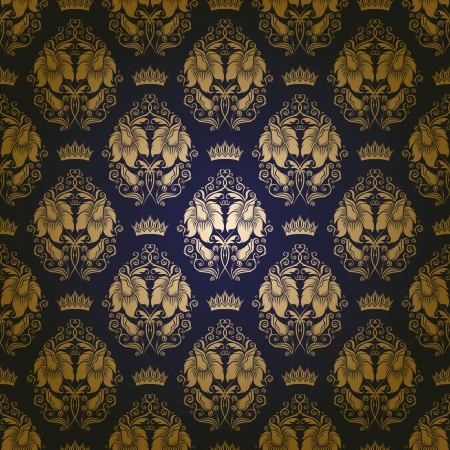 gold fabric: Damask seamless floral pattern  Royal wallpaper  Flowers, crowns on a blue background