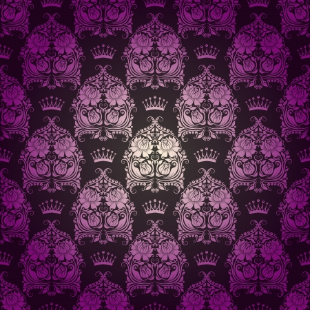 Damask seamless floral pattern  Royal wallpaper  Flowers, crowns on a gray background  Vector