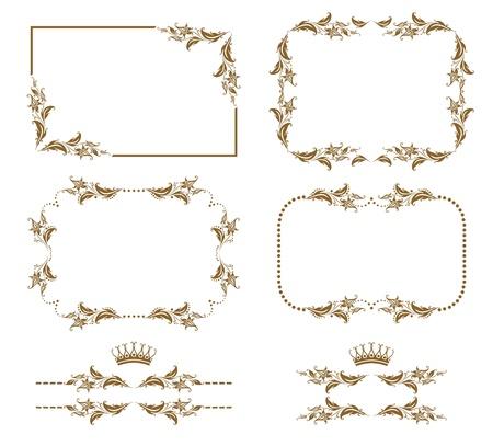 Vector set of decorative horizontal elements, border and frame   Page decoration  일러스트