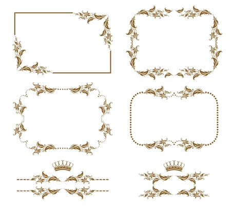 gold border: Vector set of decorative horizontal elements, border and frame   Page decoration  Illustration