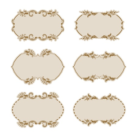 Set of ornate floral vector frames for invitations or announcements  In vintage style  Vector