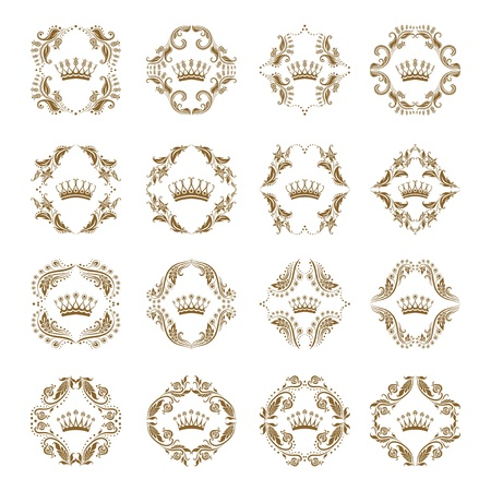 coronation: Ornate  set  Victorian crown and decorative elements   In vintage style  Illustration