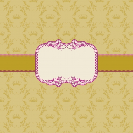 Template frame design for greeting card   Background - seamless pattern  Vector