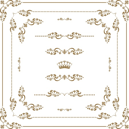 lineas horizontales: conjunto de elementos decorativos frontera horizontal y decoraci�n p�gina bastidor Vectores