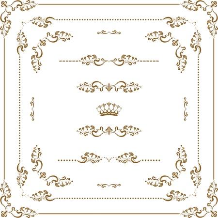 page decoration: set van decoratieve horizontale elementen, grens en frame Pagina decoratie