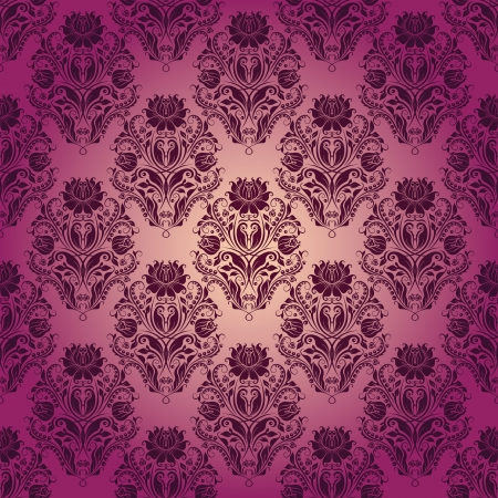 Damask seamless floral pattern  Royal wallpaper  Flowers on a rose background  Stock Vector - 15400832