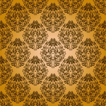 Damask seamless floral pattern  Royal wallpaper  Flowers on a yellow background  EPS 10 Vector