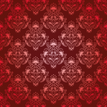 Damask seamless floral pattern  Royal wallpaper  Flowers on a red background