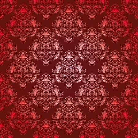 vermelho: Teste padr�o floral sem emenda do damasco real papel de parede Flores em um fundo vermelho Ilustração