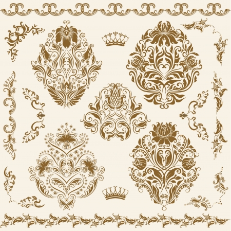 scroll border: Set of  damask ornaments  Floral elements, borders, corners for design  Page decoration